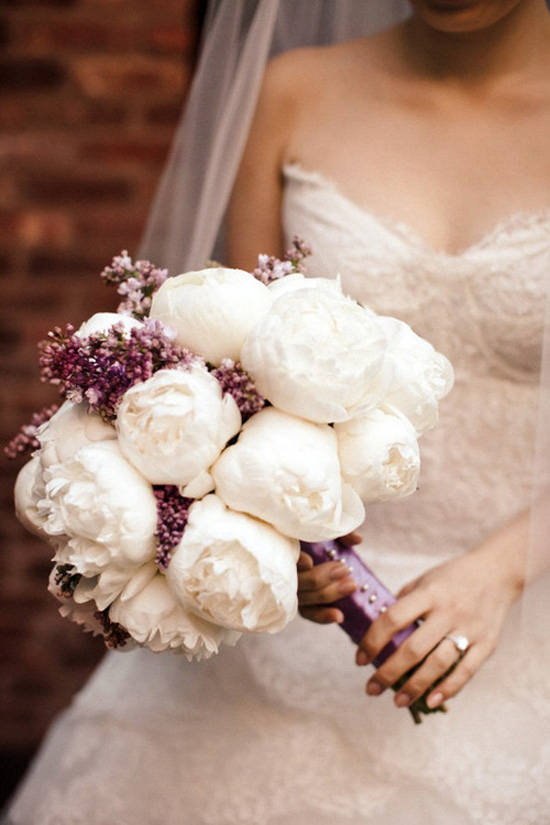 Scrumptious White Peonies Wedding Bouquet With Purple