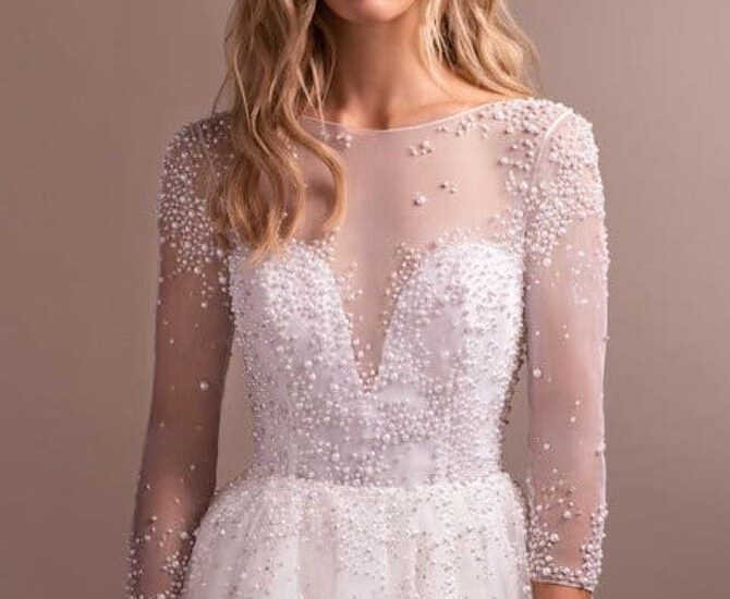 vestido de noiva com perolas